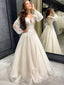 Sexy V-neck A-line Long Sleeve Lace Cheap Long Wedding Dresses Online,RBWD0024
