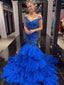 Simple Off Shoulder Mermaid Tulle Cheap Long Prom Dresses,RBPD0134