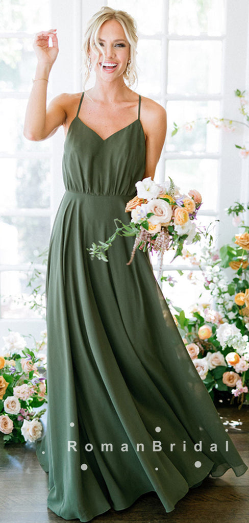 A-Line V-Neck Spaghetti Straps Chiffon Long Bridesmaid Dresses,RBWG0015
