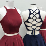Sexy Two Pieces Halter Simple A-line Open-back Short Homecoming Dresses, HD0373