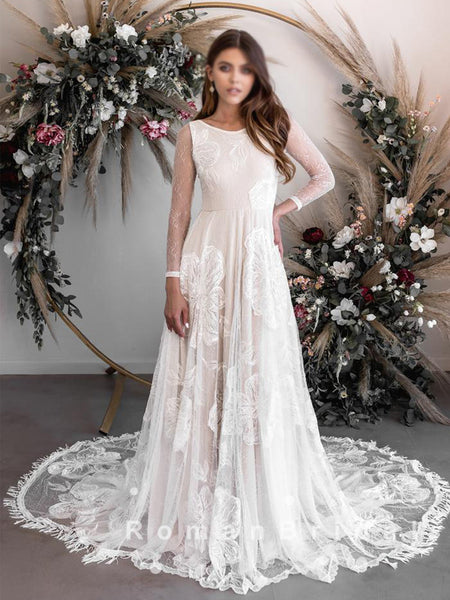 A-Line Round Neck Lace Long Sleeves Beach Wedding Dresses,RBWD0015