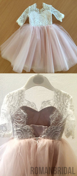 Lace Top Half Sleeves Pink Tulle Flower Girl Dresses, V-back Popular Little Girl Dresses,  FG027