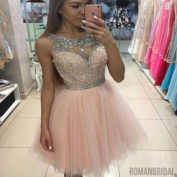Sparkly Pink round neck Jewel Beaded tulle Sleeveless homecoming dress, HD0321