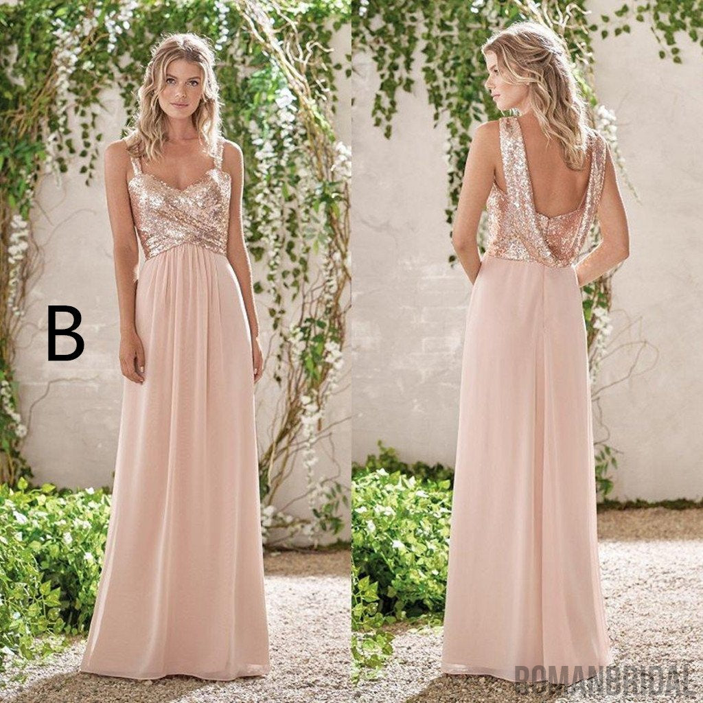 New Rose Gold Bridesmaid Dresses, A Line Spaghetti Straps Backless Wedding Party Dress Sequins, Long elegant Bridesmaid Dresses, BD0408