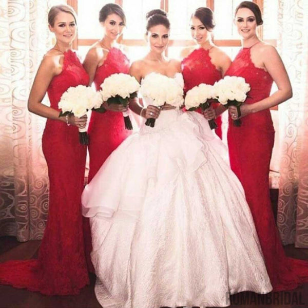 Charming Popular Red Halter Sexy Mermaid Lace Long Wedding Guest Bridesmaid Dresses, WG152