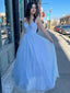 Simple V-neck A-line Tulle Cheap Long Prom Dresses,RBPD0135
