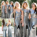 Simple Mermaid navy blue Sequined different styles cheap Bridesmaid Dress, BD0450
