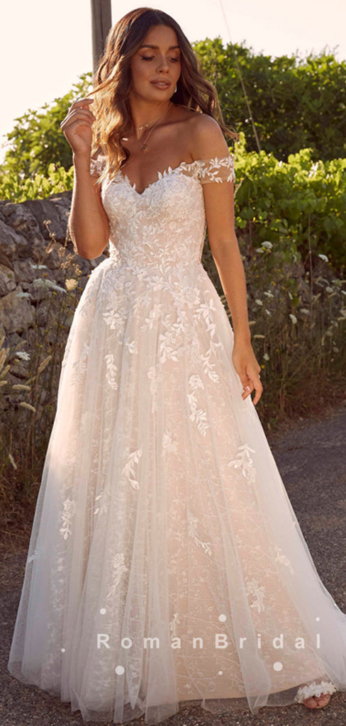 A-Line Off The Shoulder Tulle Lace Floor Length Wedding Dresses,RBWD0016