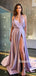 Simple V-neck Side Slit Cheap Long Prom Dresses,RBPD0136