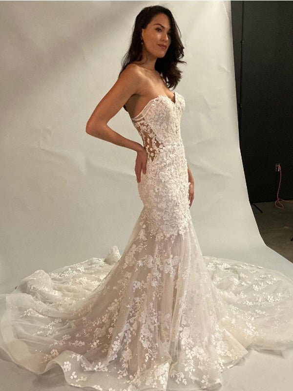 Sexy Mermaid Sweetheart Lace Cheap Long Wedding Dresses Online,RBWD0026