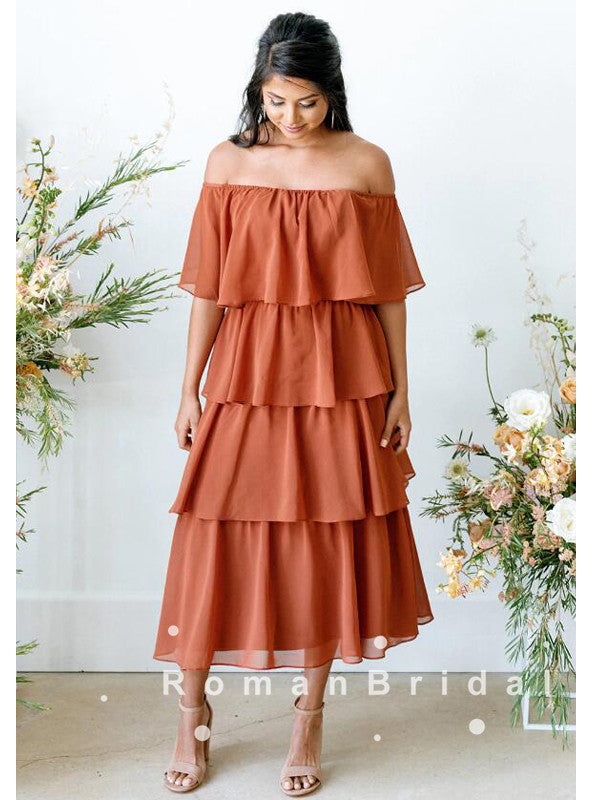 A-Line Off The Shoulder Rust Chiffon Bridesmaid Dresses With Ruffles,RBWG0017