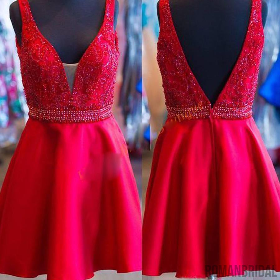 Blush red simple open backs charming for teens formal homecoming prom dresses,BD00170