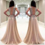 Charming A-Line Floor-Length V-Neck Backless Sexy unique beading Long prom dresses, PD0505