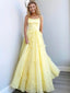 Simple Spaghetti Strap Tulle Cheap Long Prom Dresses,RBPD0137