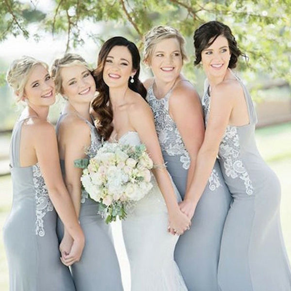 Halter Unique Lace Top Mermaid Cheap Long Grey Bridesmaid Dresses, BD0490