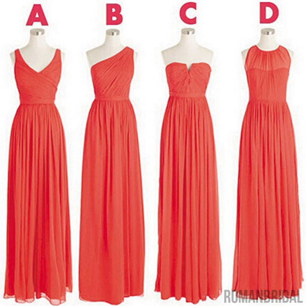 Cheap Simple Mismatched Styles Classic Chiffon  A Line Long Bridesmaid Dresses, WG182