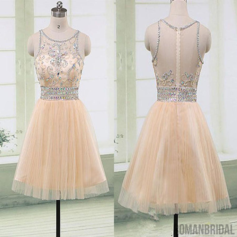 Blush pink Gorgeous beaded elegant fashion cute homecoming prom gown dresses,BD00189