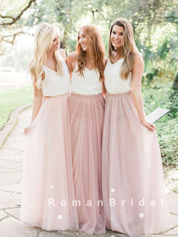 A-Line V-Neck Straps Two Piece Tulle Floor Length Bridesmaid Dresses,RBWG0018