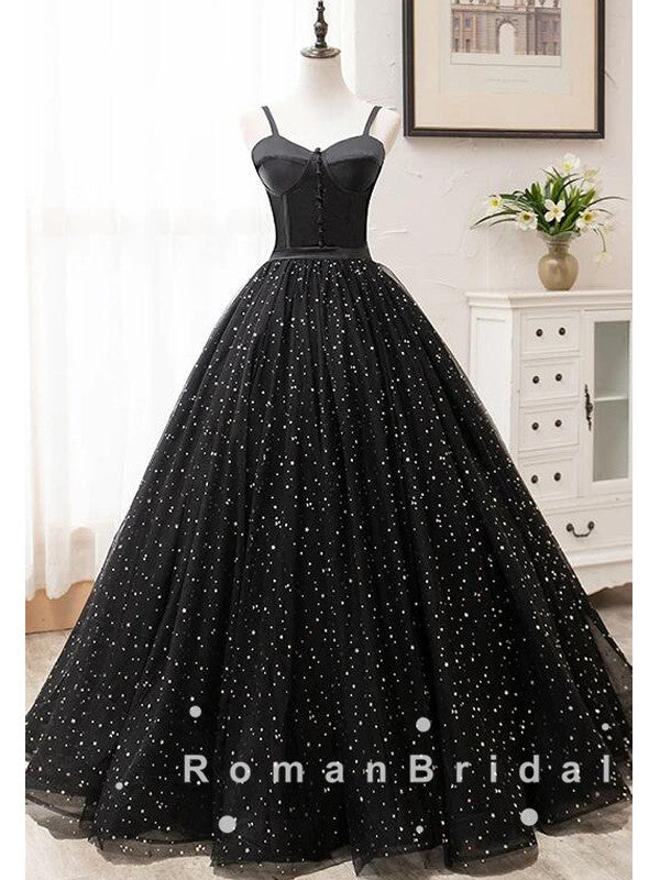 A-Line Sweetheart Spaghetti Straps Black Tulle Long Prom Dresses With Beading,RBPD0018