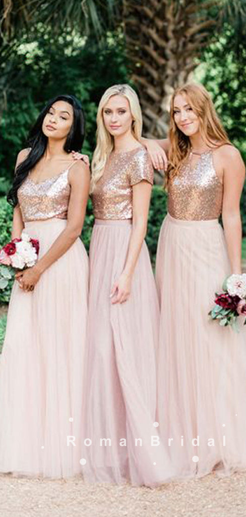 A-Line Mismatched Two Piece Tulle Long Bridesmaid Dresses With Sequins,RBWG0019
