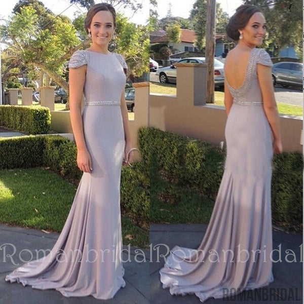 2018 Beading Cap Sleeve Cheap Bridesmaid Dresses New Arrival Open Back Evening Gowns, long Prom Dress, PD0474