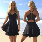 A-Line  Spaghetti Straps V-Neck Black Lace Back Simple Homecoming Dresses, HD0384
