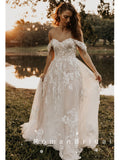Elegant A-Line Off The Shoulder Tulle Long Wedding Dresses With Lace,RBWD0019