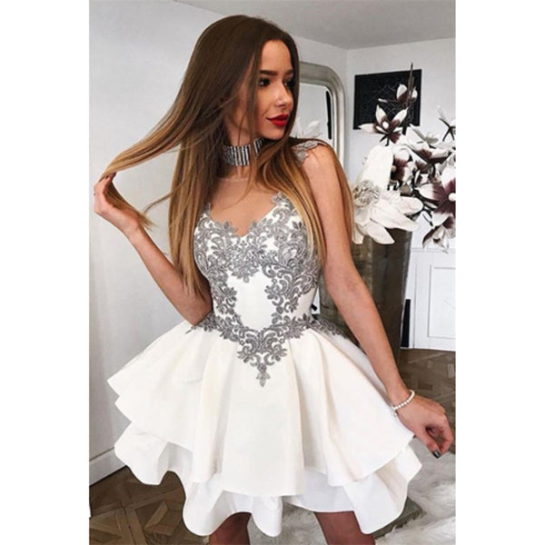 Newest Sexy V-neck Lace Appliques White Sleeveless Short Homecoming Dresses, HD0392