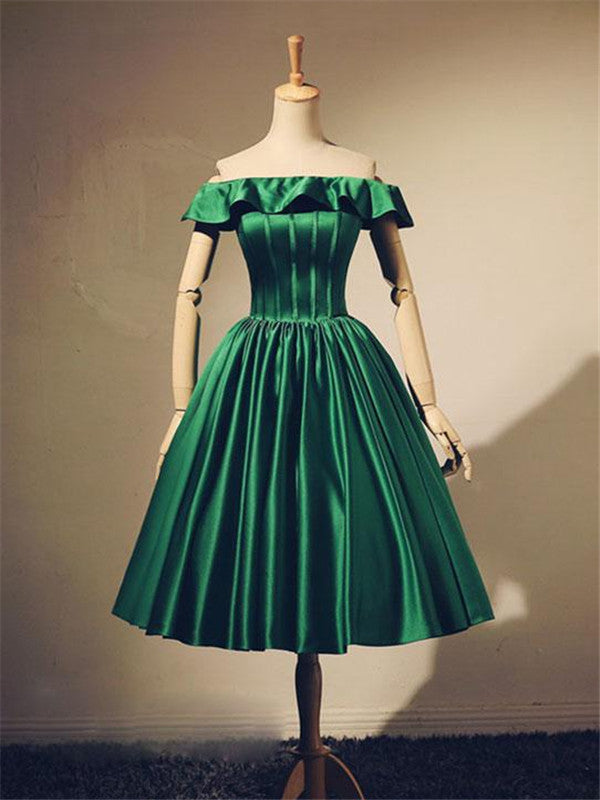 Off-shoulder Simple Green Homecoming Dresses With Pleats, HD0491