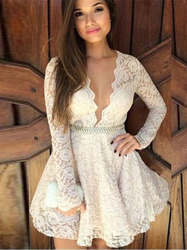 Amazing Full Lace Deep V-neck Long sleeves Short Homecoming Dress, HD0408