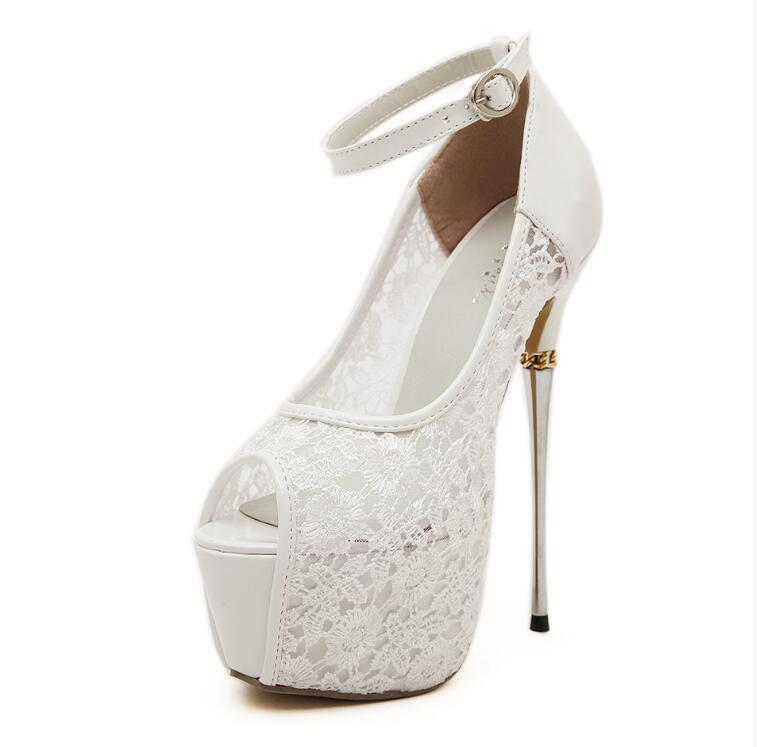 Super High Heels Fish Toe White Black Lace Sexy Wedding Bridal Shoes, S036