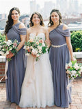 A-line Floor-length One Shoulder Grey Chiffon Bridesmaid Dress, BD0547