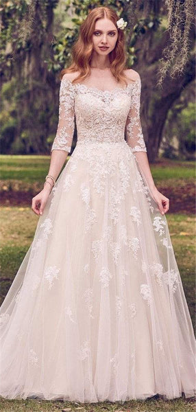 A-line Off-shoulder Half Sleeves Lace Appliques Wedding Dresses, WD0444