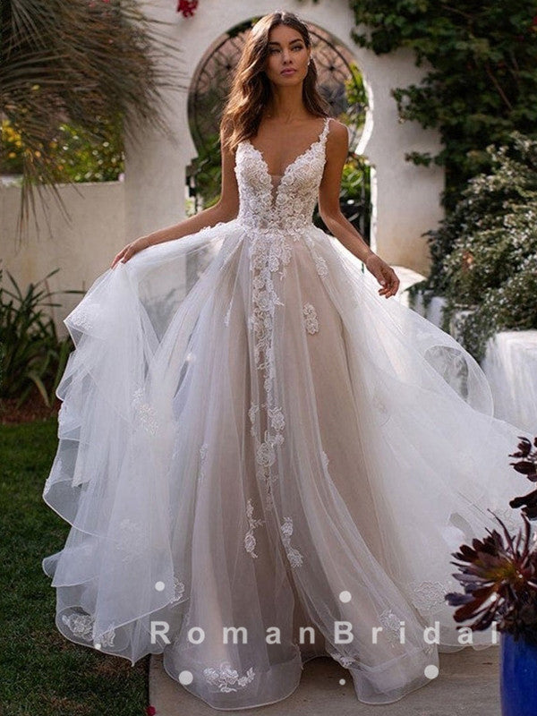 A-Line V-Neck Straps Tulle Long Wedding Dresses With Lace,RBWD0001