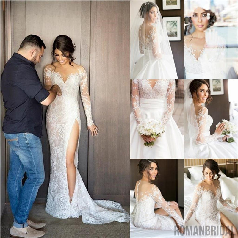 2018 New Full Lace Split Wedding Dresses  with Detachable Satin Skirt , PD0223