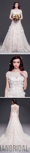 2018 Long A-line Scoop Cap Sleeve Lace Wedding Dresses, Open Back Cheap Bridal Gown, WD0002