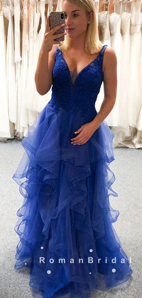 A-Line V-Neck Straps Sleeveless Tulle Long Prom Dresses With Lace,RBPD0020