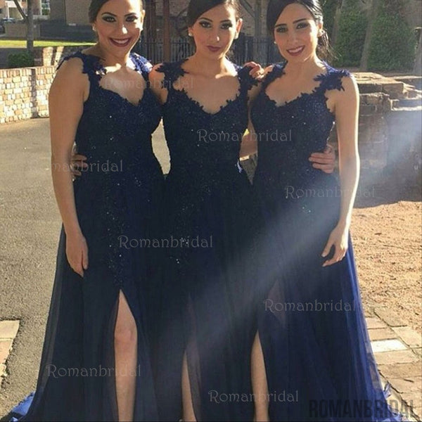 Floor-length Navy blue A-Line V-Neck Pleats Beading Appliques Split Front elegant long Bridesmaid dresses, BD0412
