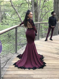 Mermaid Deep V-neck Long Sleeves Black Lace Prom Dress PD0710