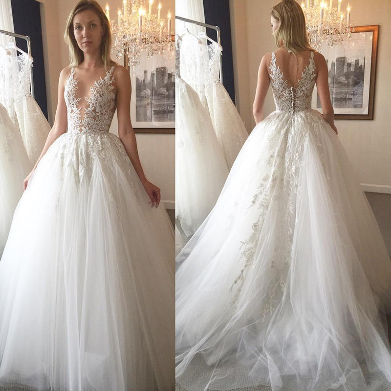 A Line Tulle Lace Applique Top Sexy Deep V-neck Open-back Wedding Dresses with train, WD0357