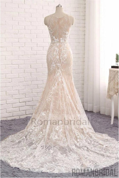 2018 Unique Mermaid White Sleeveless Prom Dress,Lace Long Sweep Train Wedding Dress, WD0305
