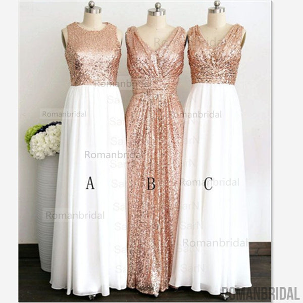 2018 Rose Gold sequin bridesmaid dresses, off shoulder bridesmaid dresses, short bridesmaid dresses, cheap bridesmaid dresses, modest bridesmaid dresses, BD0406