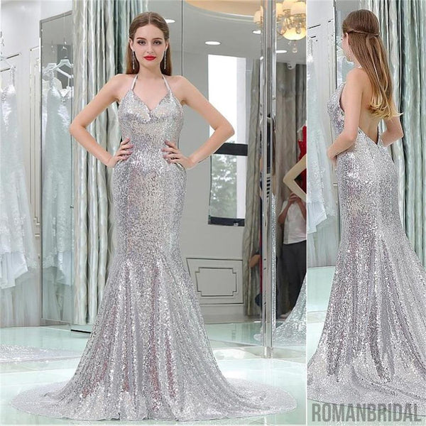 0cfea52cb3b 2018 Charming Silver Sequin Mermaid Sexy Popular Gorgeous V back Prom  Dresses With Small Train,
