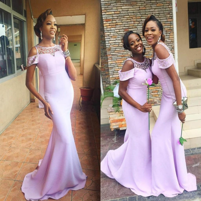 Mermaid Off Shoulder Lace Scoop Light Purple Long Bridesmaid Dress With train, BD0520