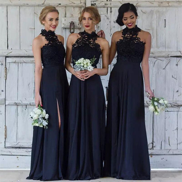 b3737459102 Floor Length Navy Blue Halter Neck Lace Appliques Top Chiffon Side Split  Bridesmaid dresses