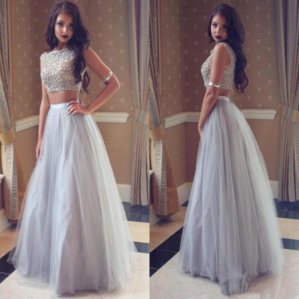 2018 New Popular Two-Pieces Silver Tulle Party Gowns With Jewel,  Sleeveless Long Party Gowns, PD0534
