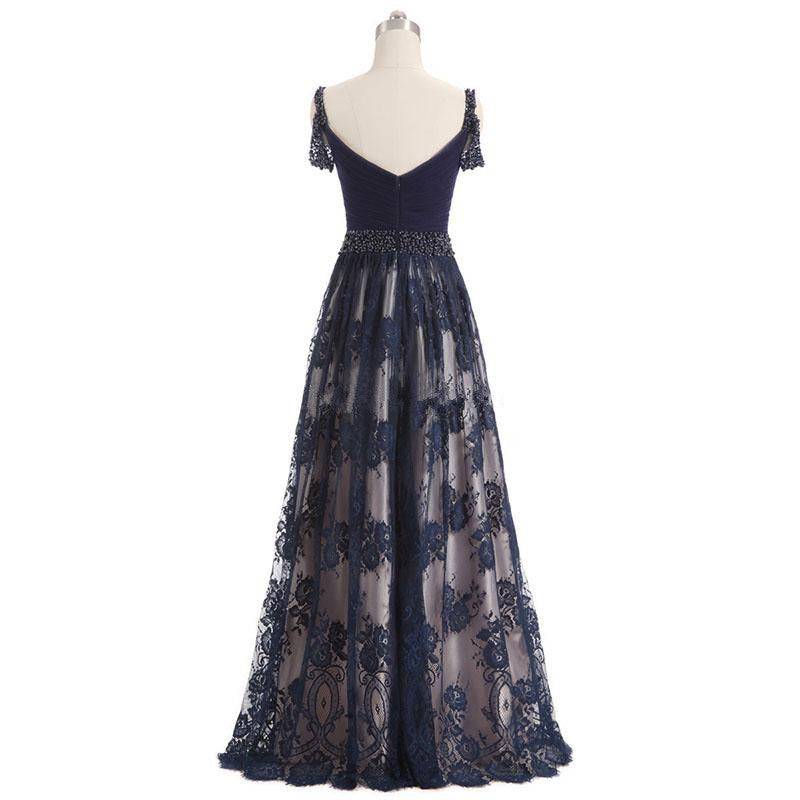 A-line Floor-length Navy Blue Beading Lace Tulle Prom Dresses, PD0693