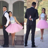 Lovely High Neck Halter Sparkly Sequins Top Pink Skirt Short Homecoming Dresses, HD0378