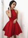 A-Line Red Sleeveless Halter Backless Pleats Short Homecoming Dress, HD0397