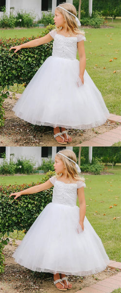A-line Cap-sleeves Lace Appliques Ankle-length Flower Girl Dresses, FG0141